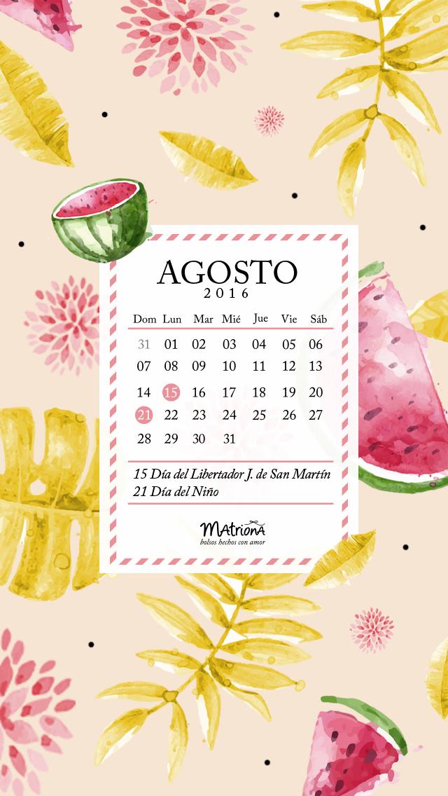 Calendario Agosto 2016 - Celu