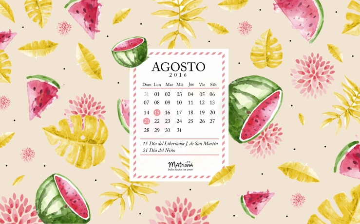 Calendario Agosto 2016 - PC